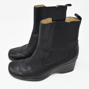 Rockport Sz 7.5 M Black Leather Wedge Heel Ankle